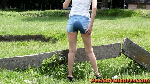 Peeing in her shorts